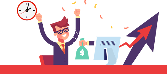 Cartoon Image of Man Celebrating After Being Awarded with Money He's Won